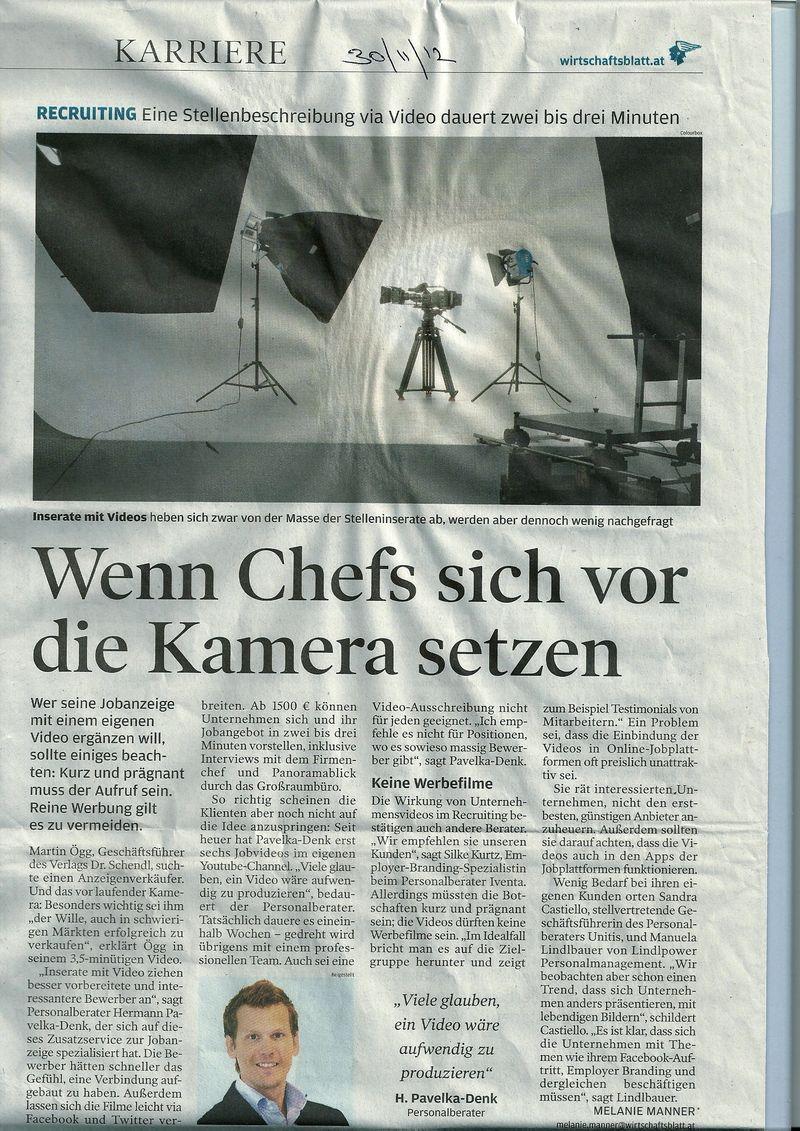 Interview Wirtschaftsblatt Jobvideos 20121130